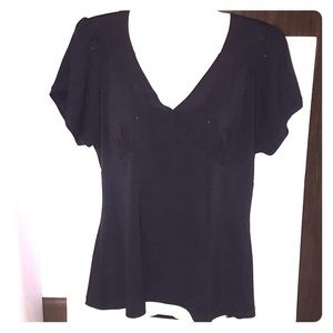 Worthington black top. Petite stretch. Size PLarge
